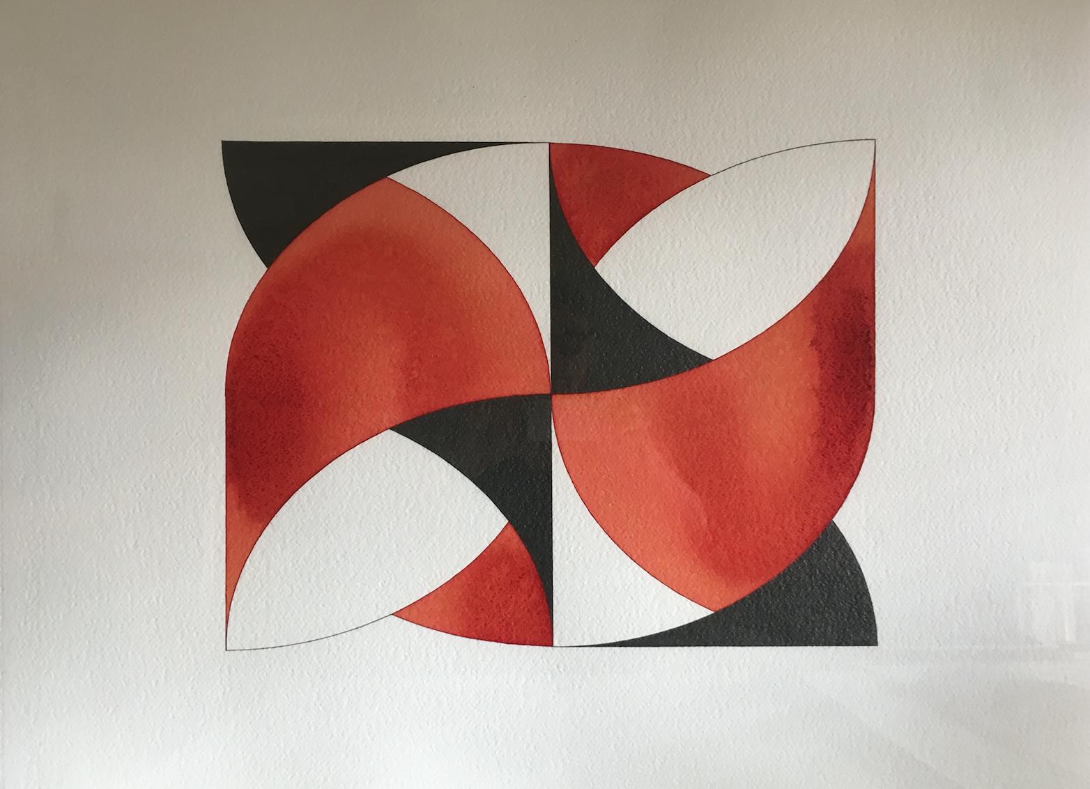 'Part Worlds, Worlds Apart 8' 2016, aquarelle et crayon sur papier, 56 x 76 cm