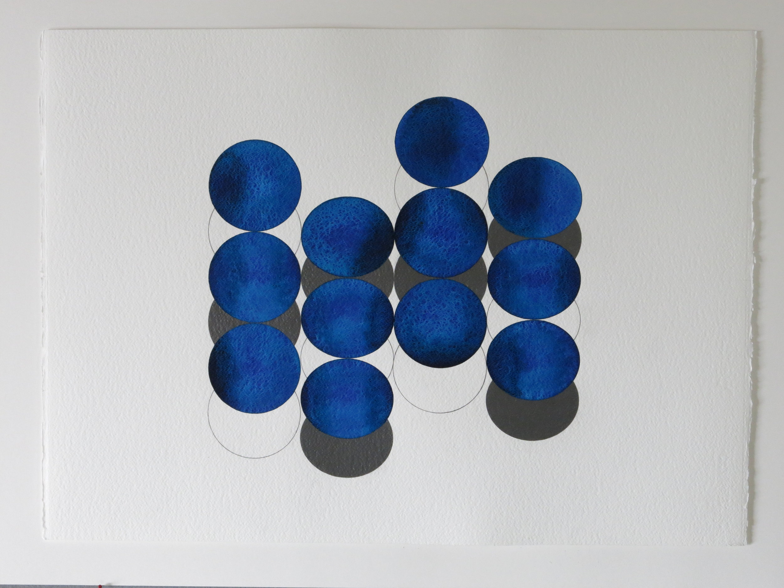 'Smoke and Mirrors 1' 2016, aquarelle et crayon sur papier, 56 x 76 cm