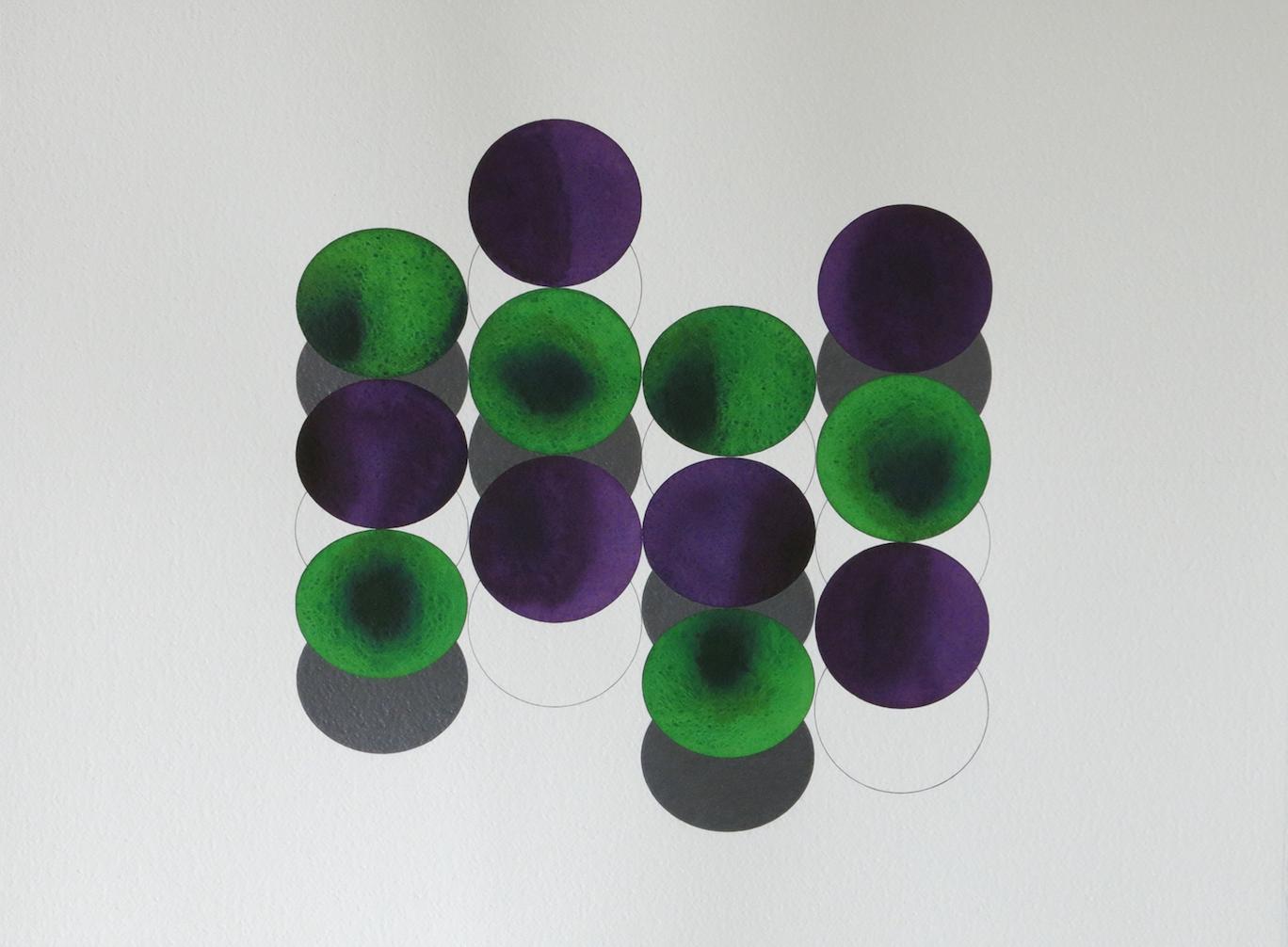 'Smoke and Mirrors 6' 2018, aquarelle et crayon sur papier, 56 x 76 cm