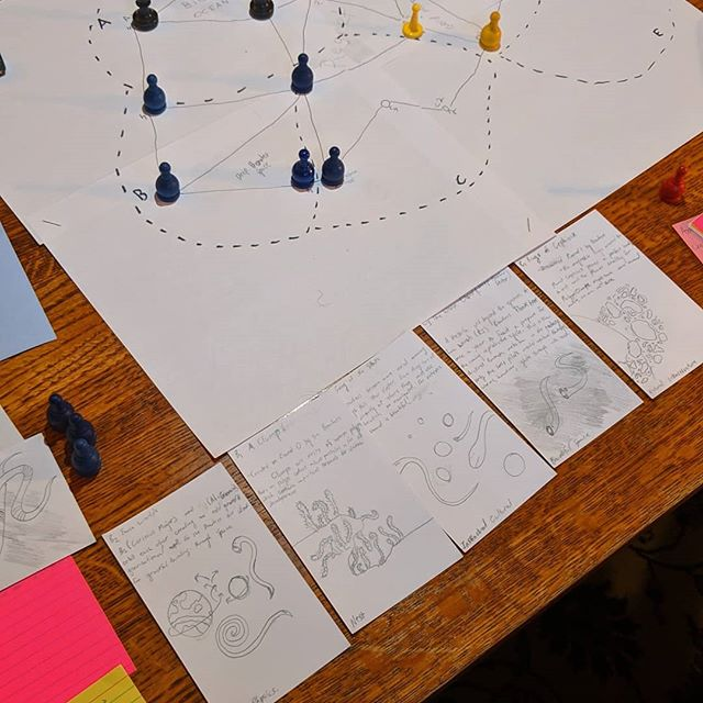 New year, new rules! For our most recent playtest we did away with big sheets and complex resource tracking in favor of a lighter, index-card system . . . . . . . . . . #roleplaying #tabletop #rpg #ttrpg #scifi #worldbuilding #cards #game #space #playtesting #gamedesign