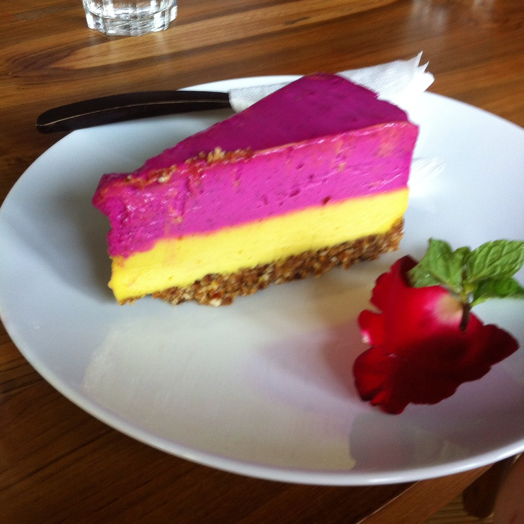 Raw passionfruit cheesecake from S ayuri Healing Food , Ubud.