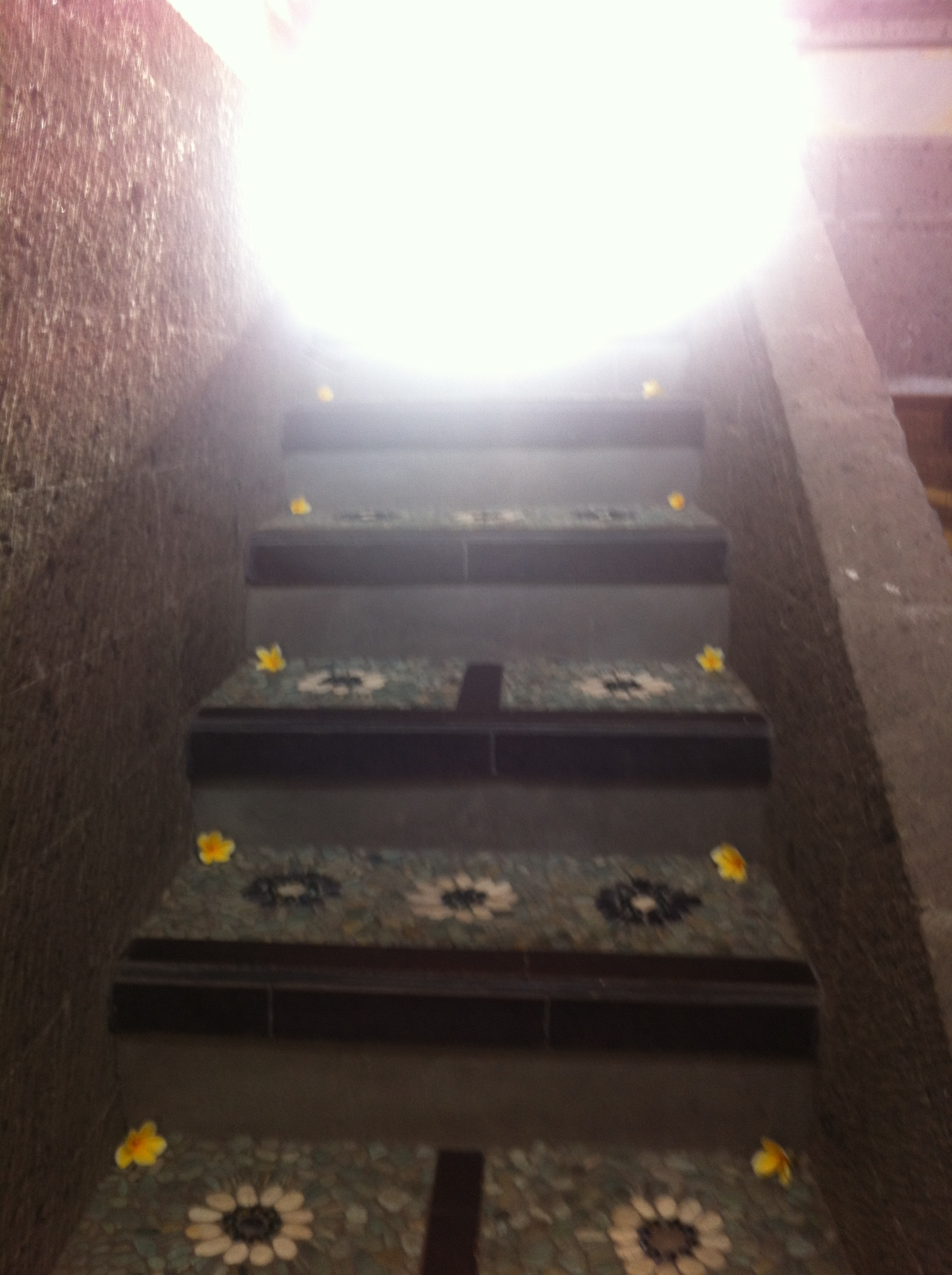 Stairs up to our Yoga room. The beautiful staff at Ubud Aurora, placed the flowers here for our 7am classes.