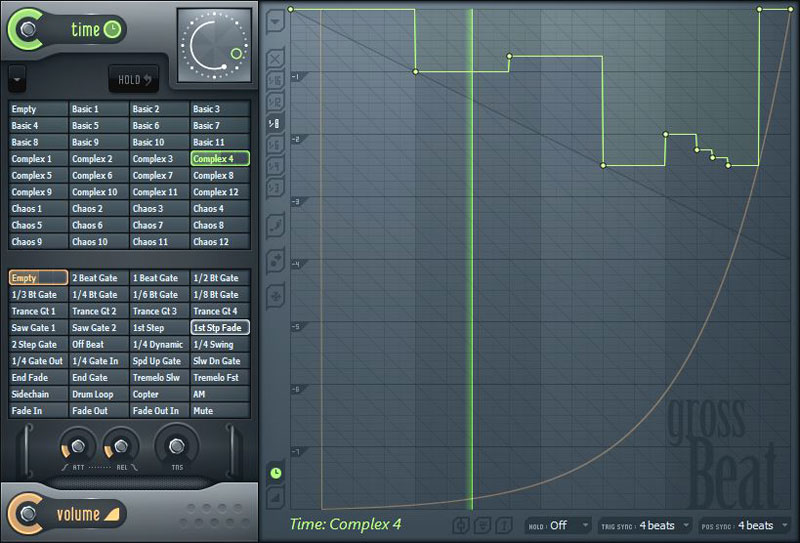 Gross beat is perfect for real-time or rendered gating, glitch, repeat, scratching and stutter performances. Gross Beat stores audio in a 2-bar rolling buffer under the control of 36 user definable time and volume envelopes, giving you unlimited creative control.