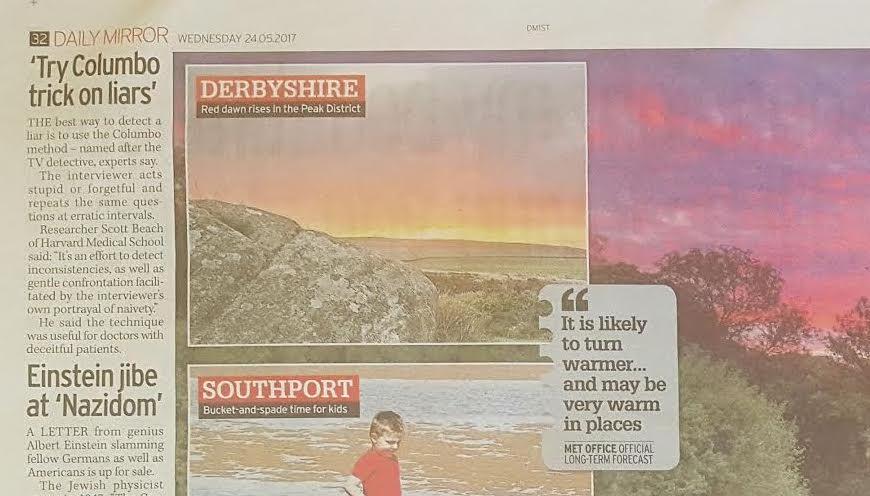 Daily Mirror - Derbyshire SunriseRed dawn rises in the Peak District.via Alamy News
