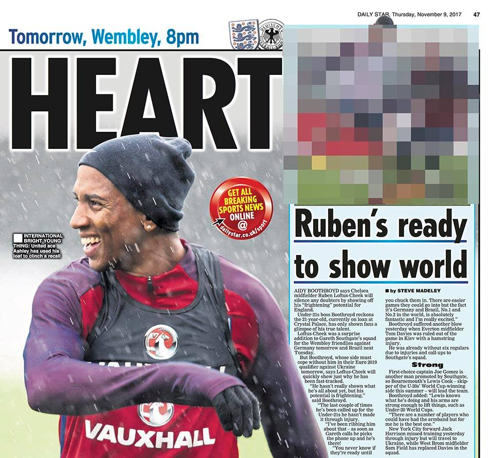 Daily Star - Ashley Young during England trainingWorking for Focus Images Ltd