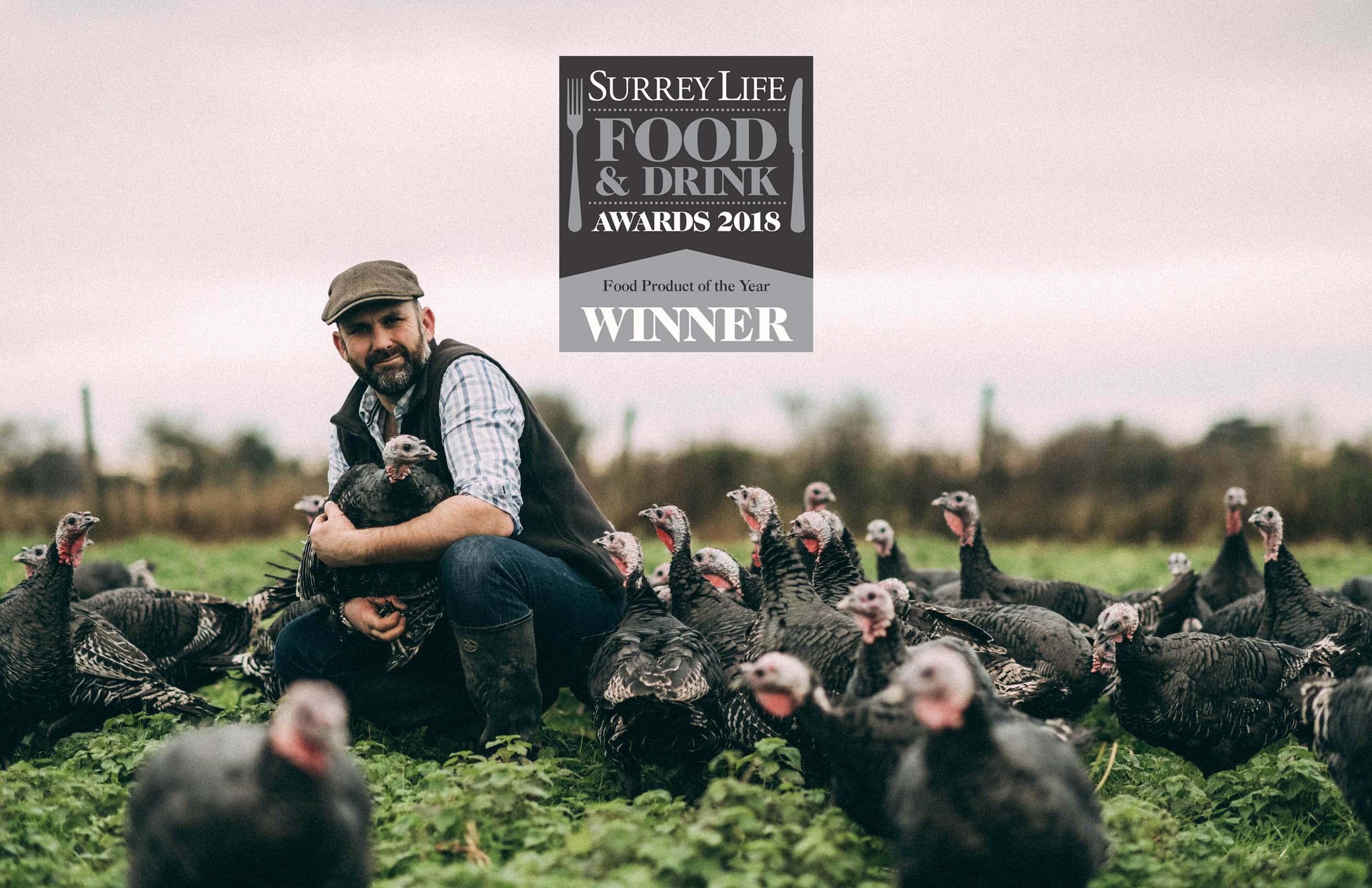 "Bramble farm Turkeys - winner of ""Food product of the year award"" 2018"