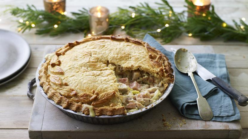 Hairy Biker's  turkey, ham and stuffing pie