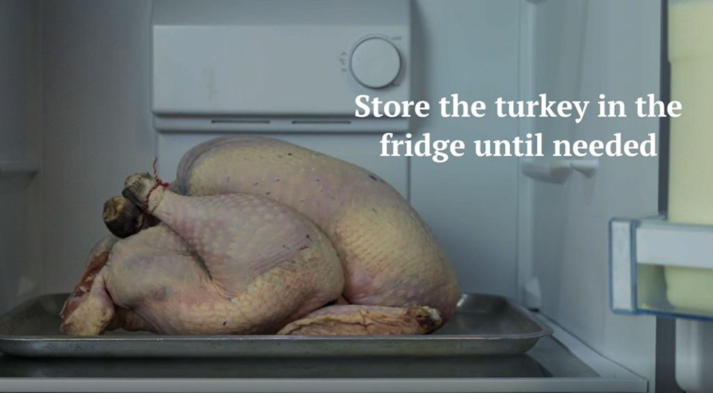 Please take your turkey out of the box and place in the fridge as soon as you get home. Turn your fridge temperature down and store in the bottom. DO NOT store it in the garage/barn. Take it out of the fridge 2hrs+ before cooking.