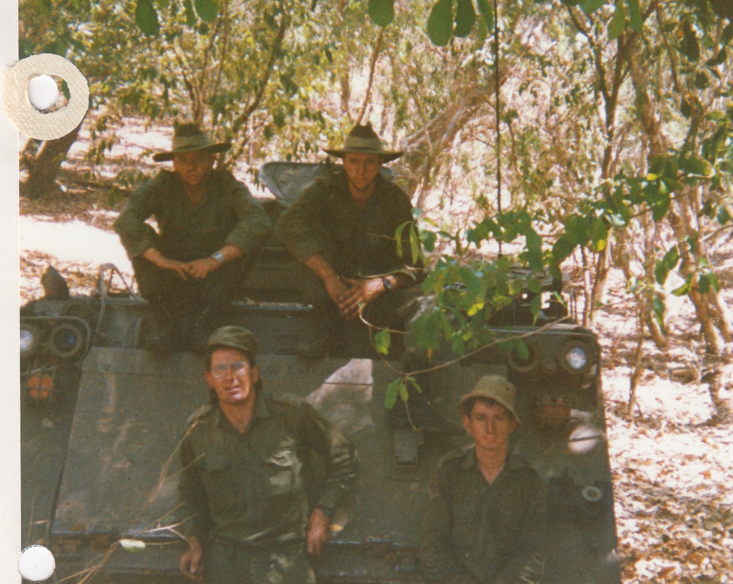 Captain Colin Carrington, 'A' Squadron 8th/13th Victorian Mounted Rifles, left front, with his patrol near Fergusson River, Northern Territory 1988.