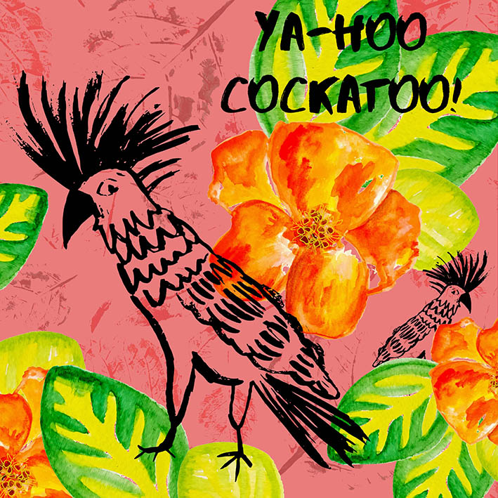 'Yahoo Cocktaoo!' card design by Rebecca Johnstone/Dainty Dora
