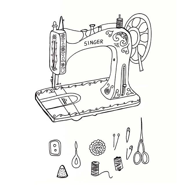 Sewing machine & supplies sketch, Rebecca Johnstone