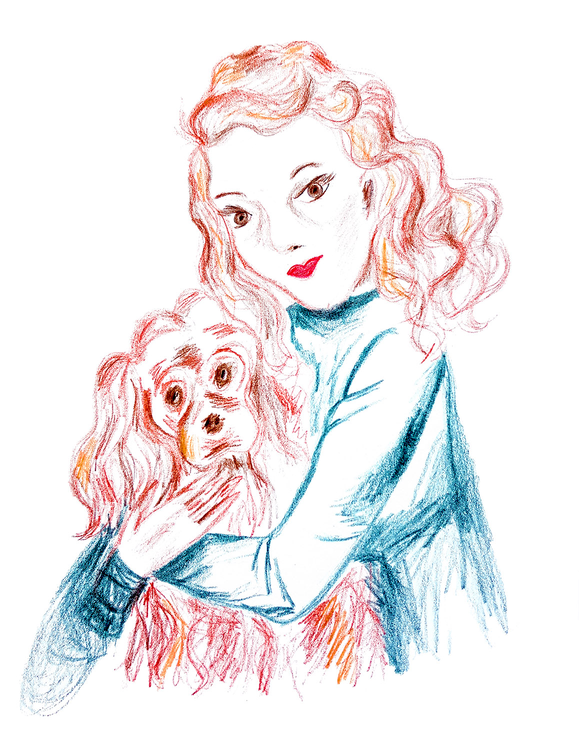 Lady with the red hair & dog, Rebecca Johnstone