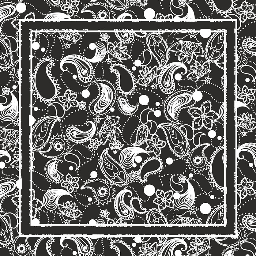 Paisley Black Spring 18 mens pocket square, Rebecca Johnstone