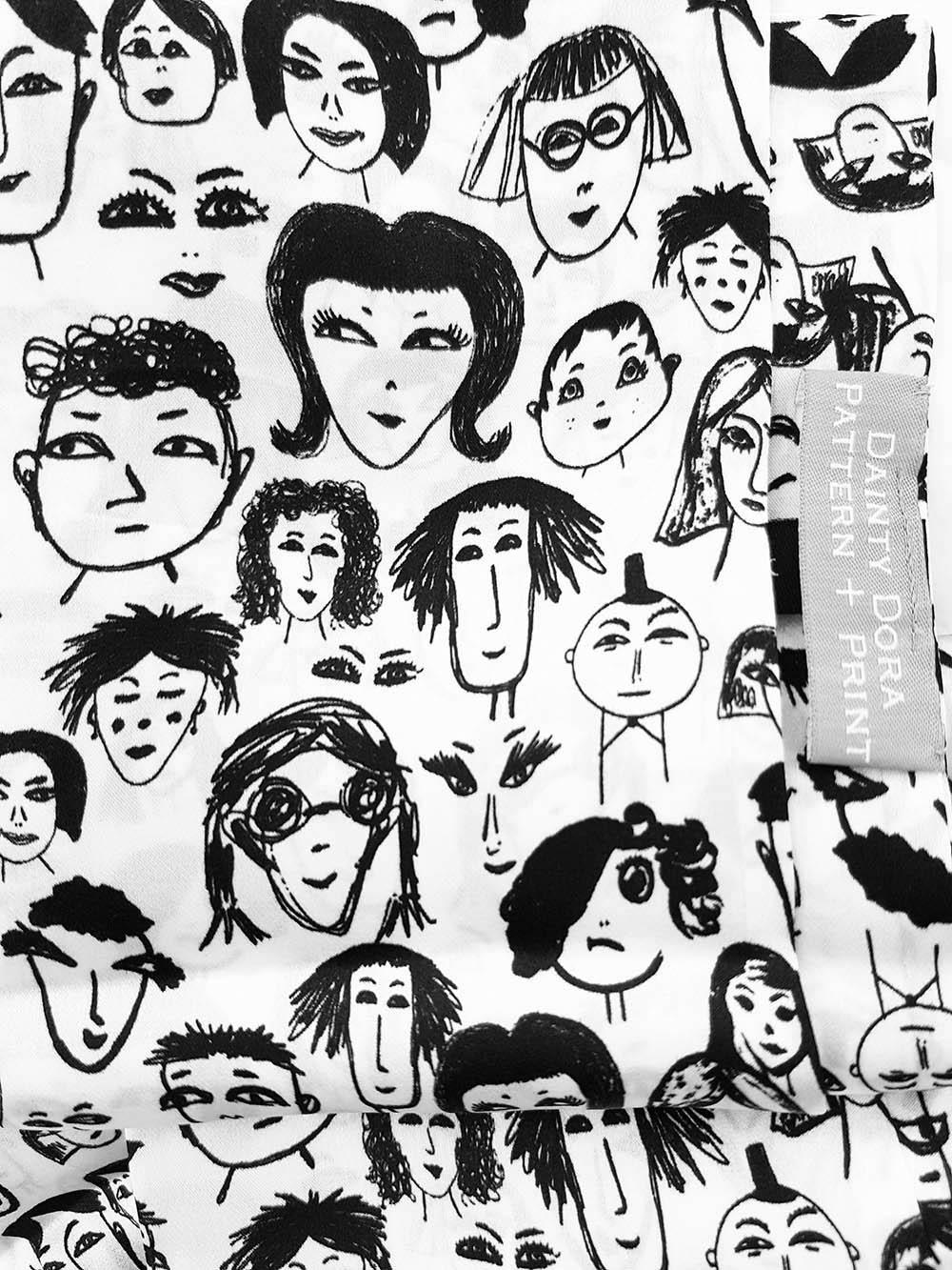 Face Gang Skinny Scarf 100% silk, Dainty Dora/Rebecca Johnstone