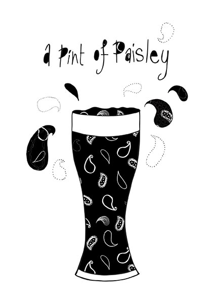 Pint of Paisley Print by Rebecca Johnstone