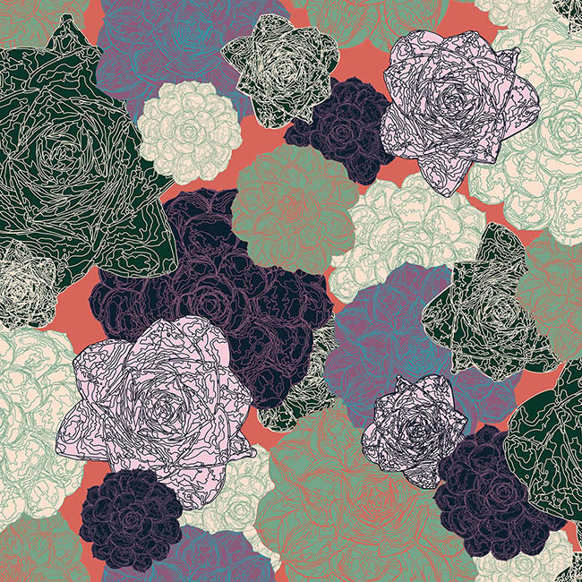 Succulents surface pattern design by Rebecca Johnstone