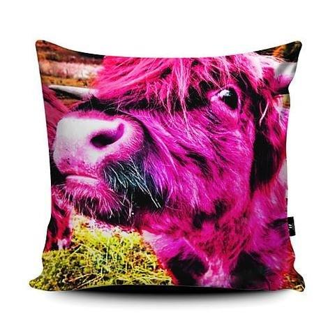 Rebecca Johnstone Highland Cow - Pink - Cushion