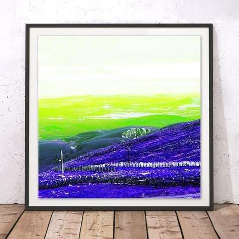Rebecca Johnstone Cairngorm 3 - Purple + Lime - Square Print