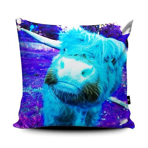 Rebecca Johnstone Highland Cow - Blue - Cushion