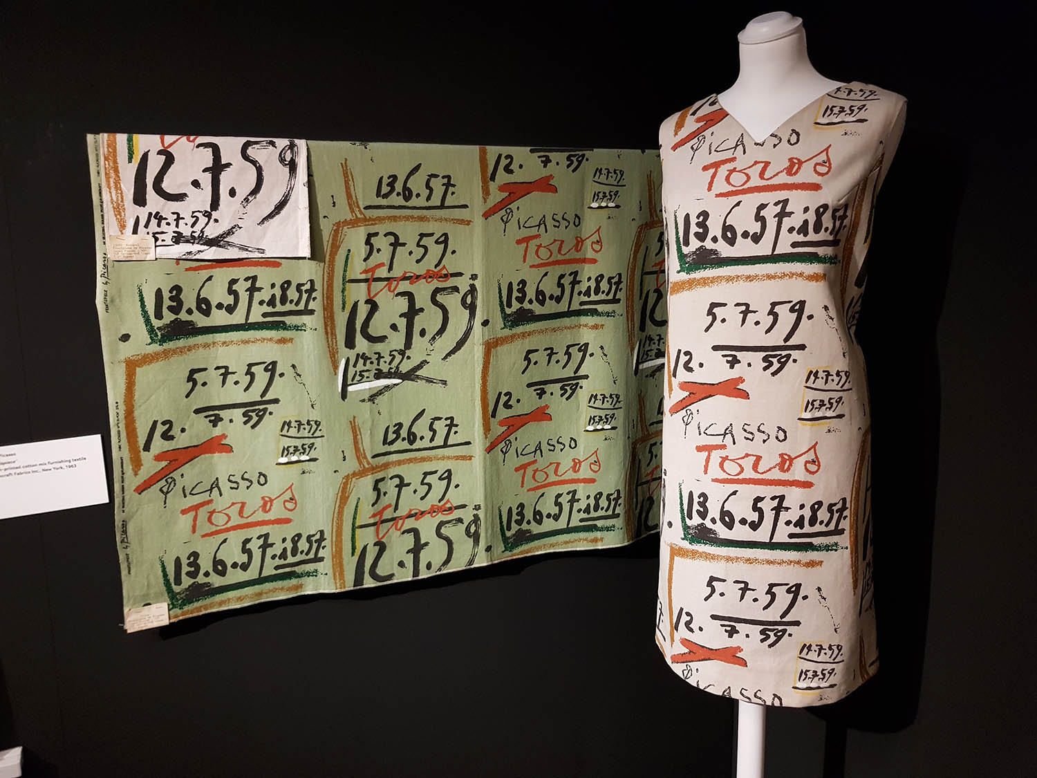 'Shift' dress made from Picasso's textile 'Frontispiece', screen-printed cotton c1964-5
