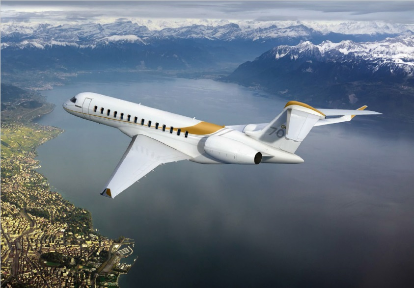 Visualisation of the Global 7000 in flight
