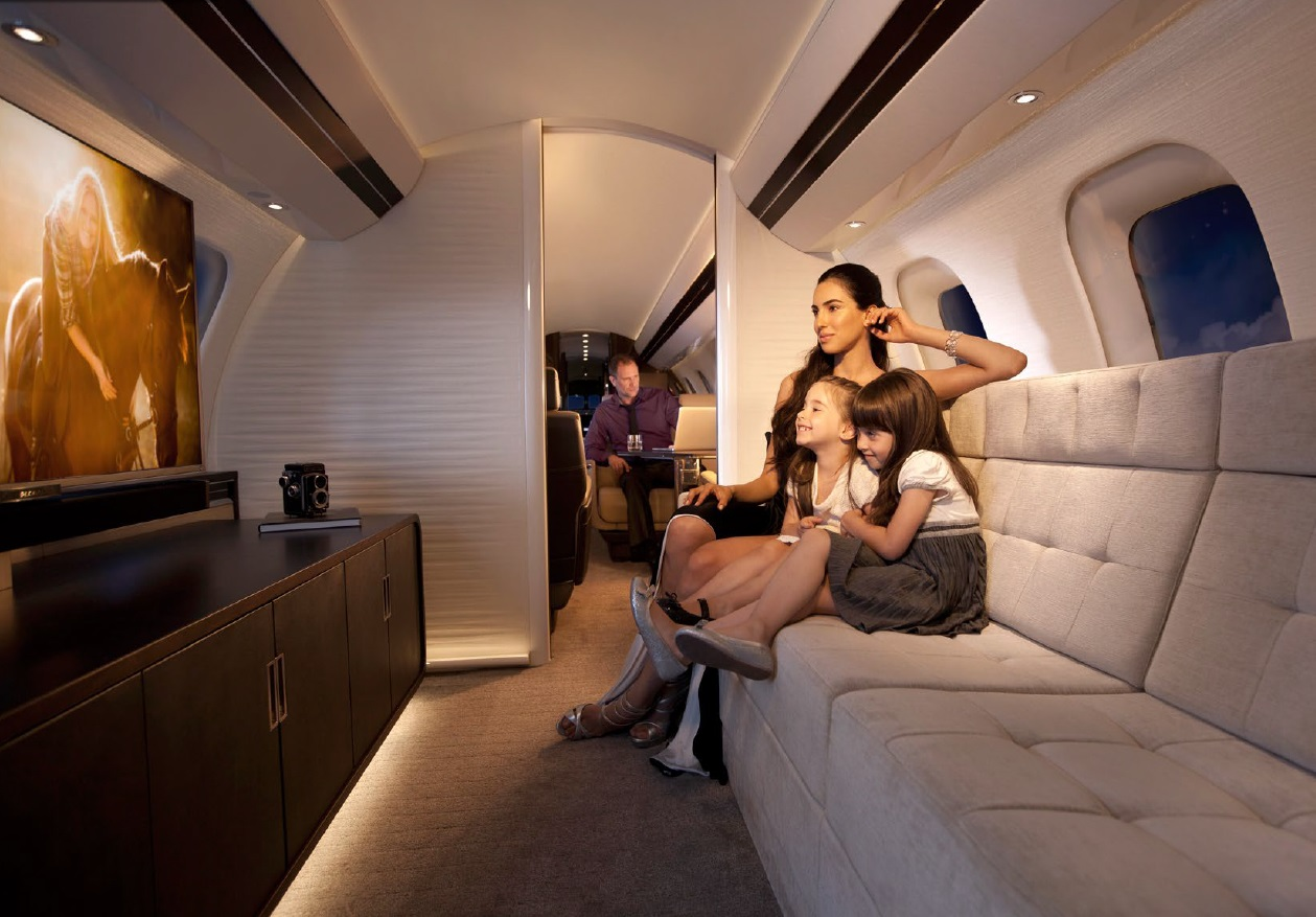Guests will be able to explore the full length of the cabin in the mock-up Global 7000