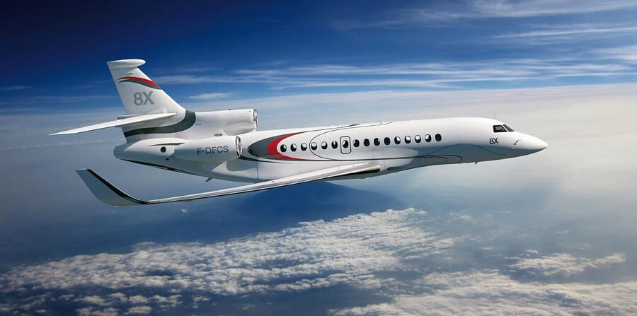 The flagship of the Dassault Aviation's private jets, the ultra-long range   Falcon 8X