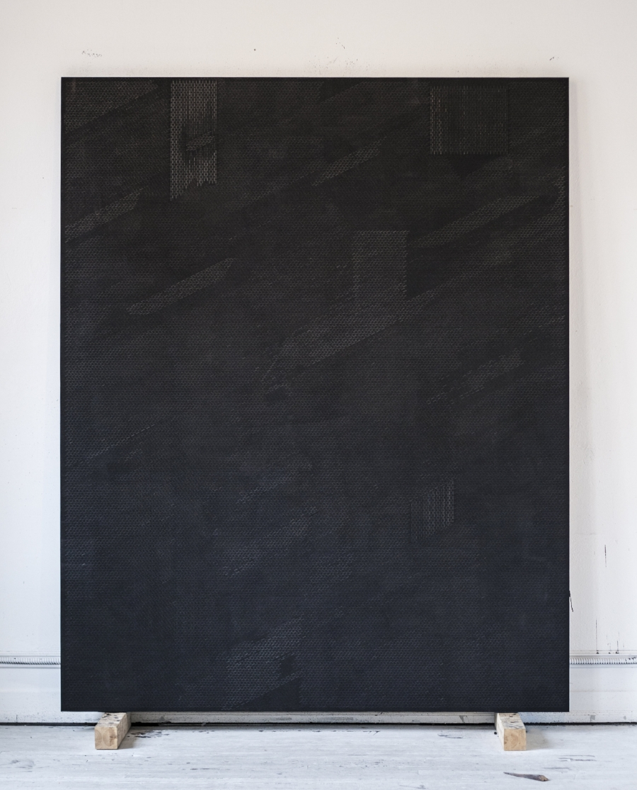 Annunciation, the Visitor, oil graphite paster on panel, 96 x 77 inches, 2015/2016