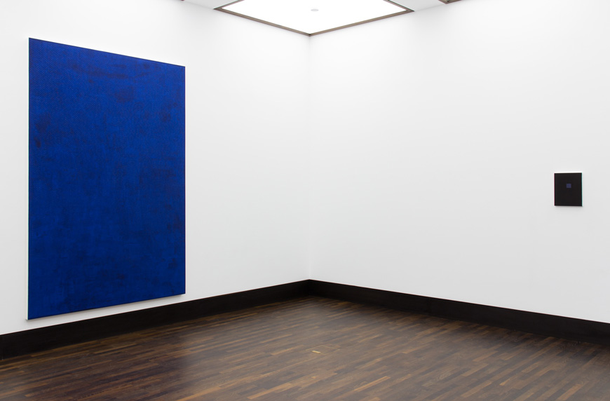 Installation View,  The Imperishable Ones  (left) Blue Black Cold 17, Sparkle Eye (right)