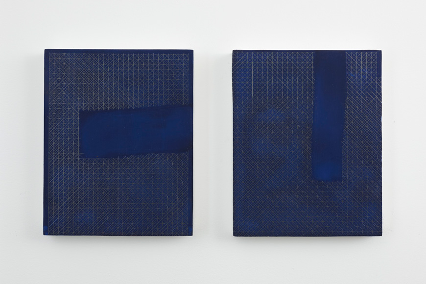 January I  (right) and  January II  (left),, oil, graphite, and traditional chalk ground on panel, 9.5 x 7.5 inches, 2015
