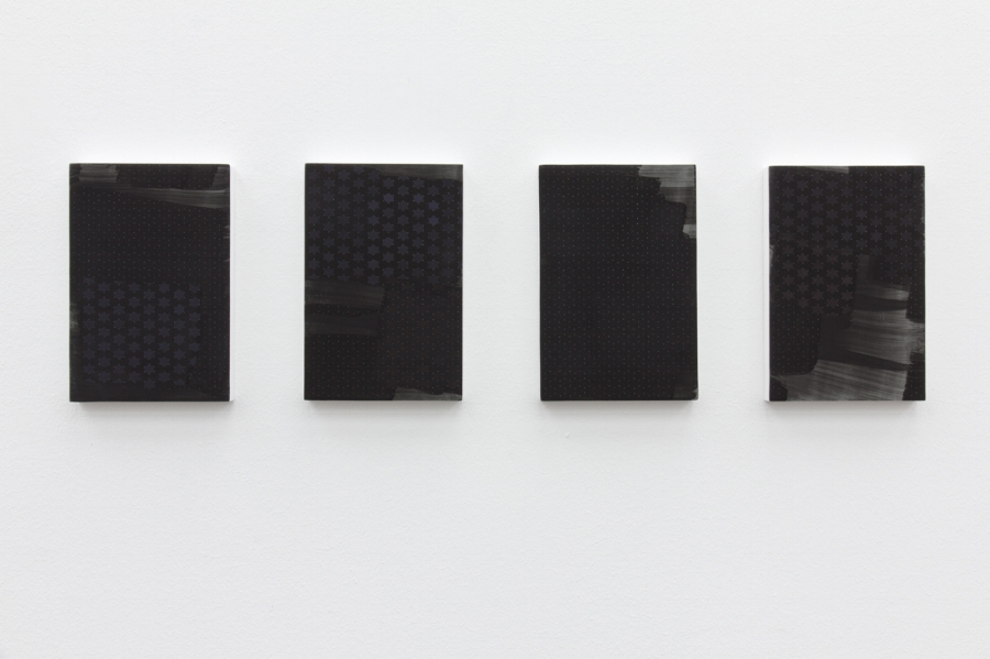 (L to R)   Madonna of the Night  oil graphite and plaster on panel, 24 x 16 cm, 2018   The Dream of a Father  oil graphite and plaster on panel, 24 x 16 cm, 2018   Virginia  oil graphite and plaster on panel, 24 x 16 cm, 2018   Jones Creek  oil graphite and plaster on panel, 24 x 16 cm, 2018