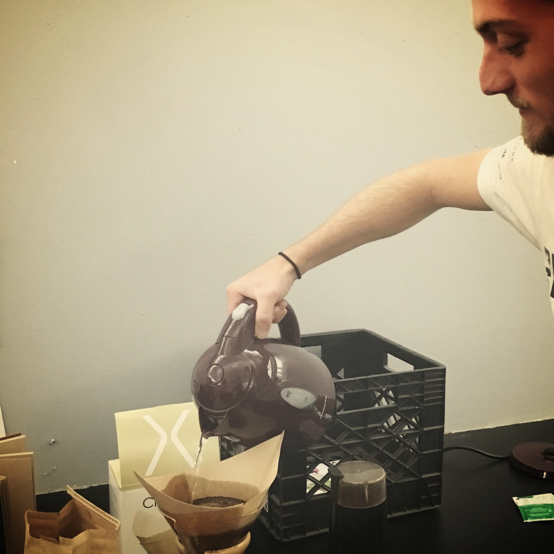 2017 EPD – A seriously resourceful crew. Why buy coffee when we can grind and brew in class?