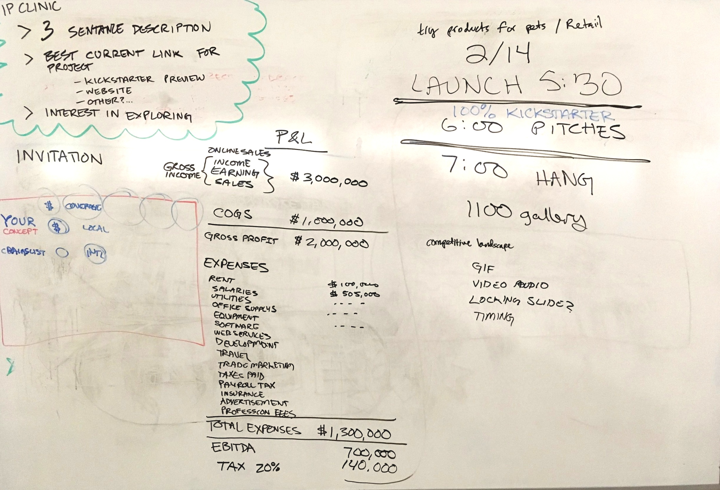 A smattering of notes. Income Statement in the middle.