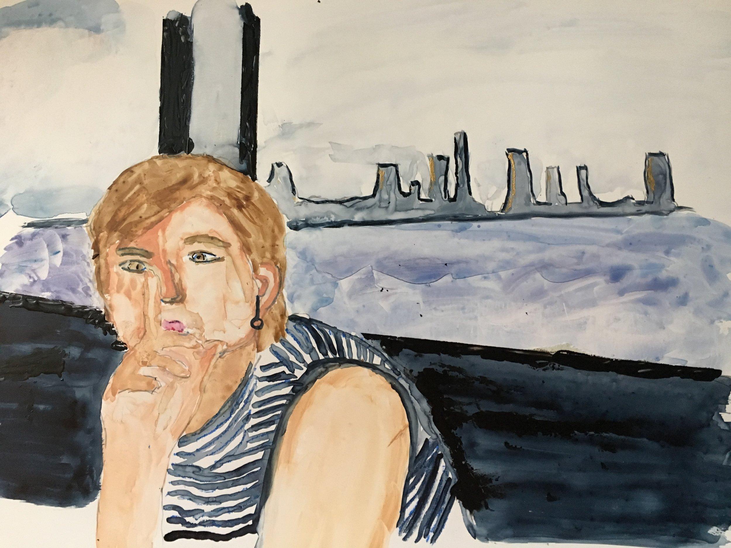 """Claire"" - Watercolor on polypropelene - D Ferrara"