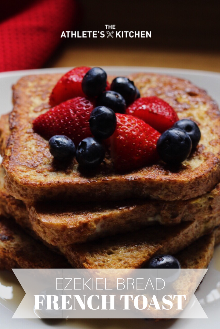 Ezekiel bread frenchtoast with strawberries and blueberries