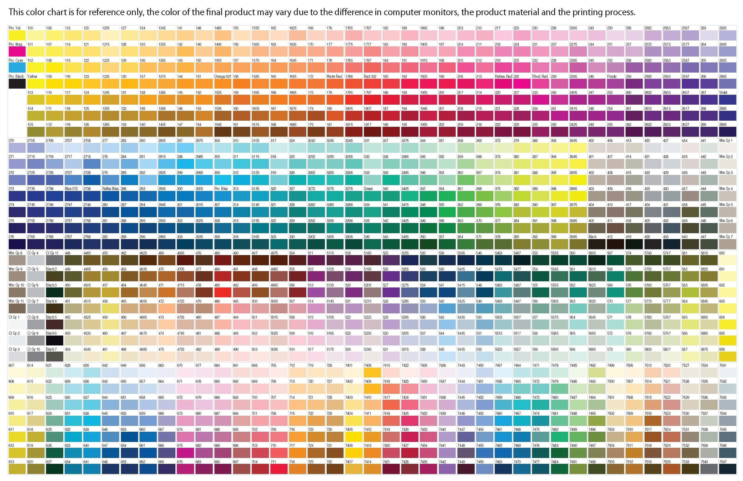 Pantone Chart - Allegheny Apparel Sublimation Apparel