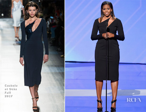 Photo courtesy of  https://www.redcarpet-fashionawards.com/2017/07/13/michelle-obama-cushnie-et-ochs-2017-espys/