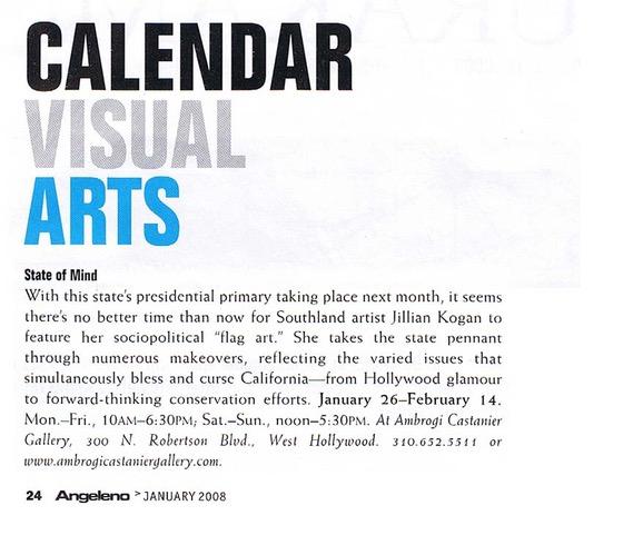 Visual Arts, Angeleno  January 2008