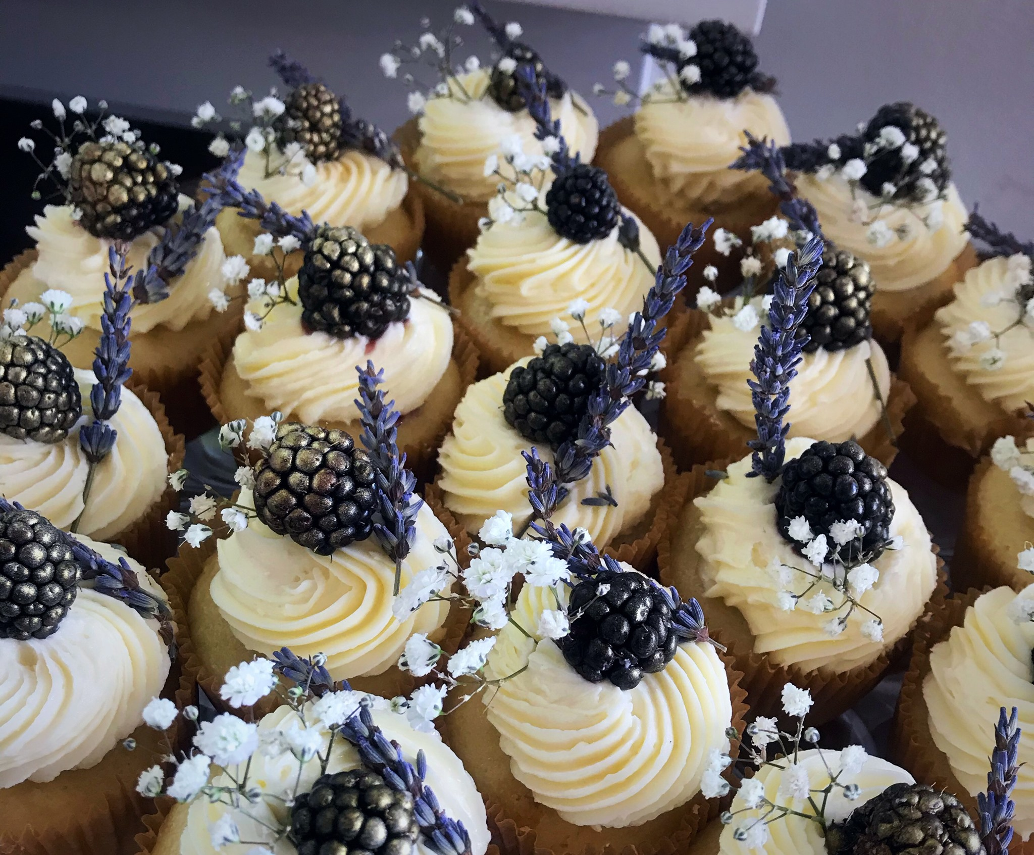 Blackberry Lavender Jam w/ White Chocolate Buttercream Frosting Cupcakes