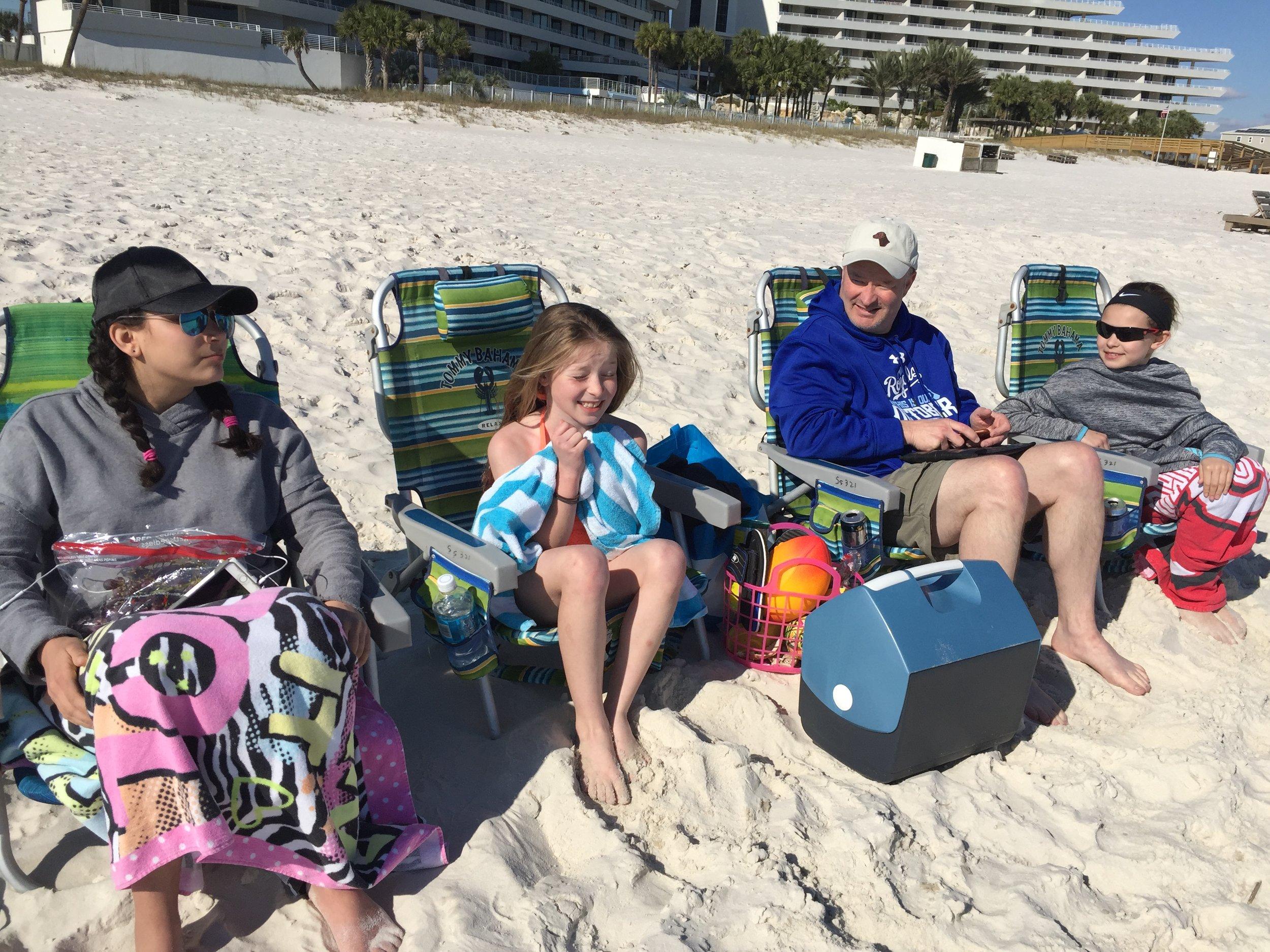 Kids and Pat on beach.JPG