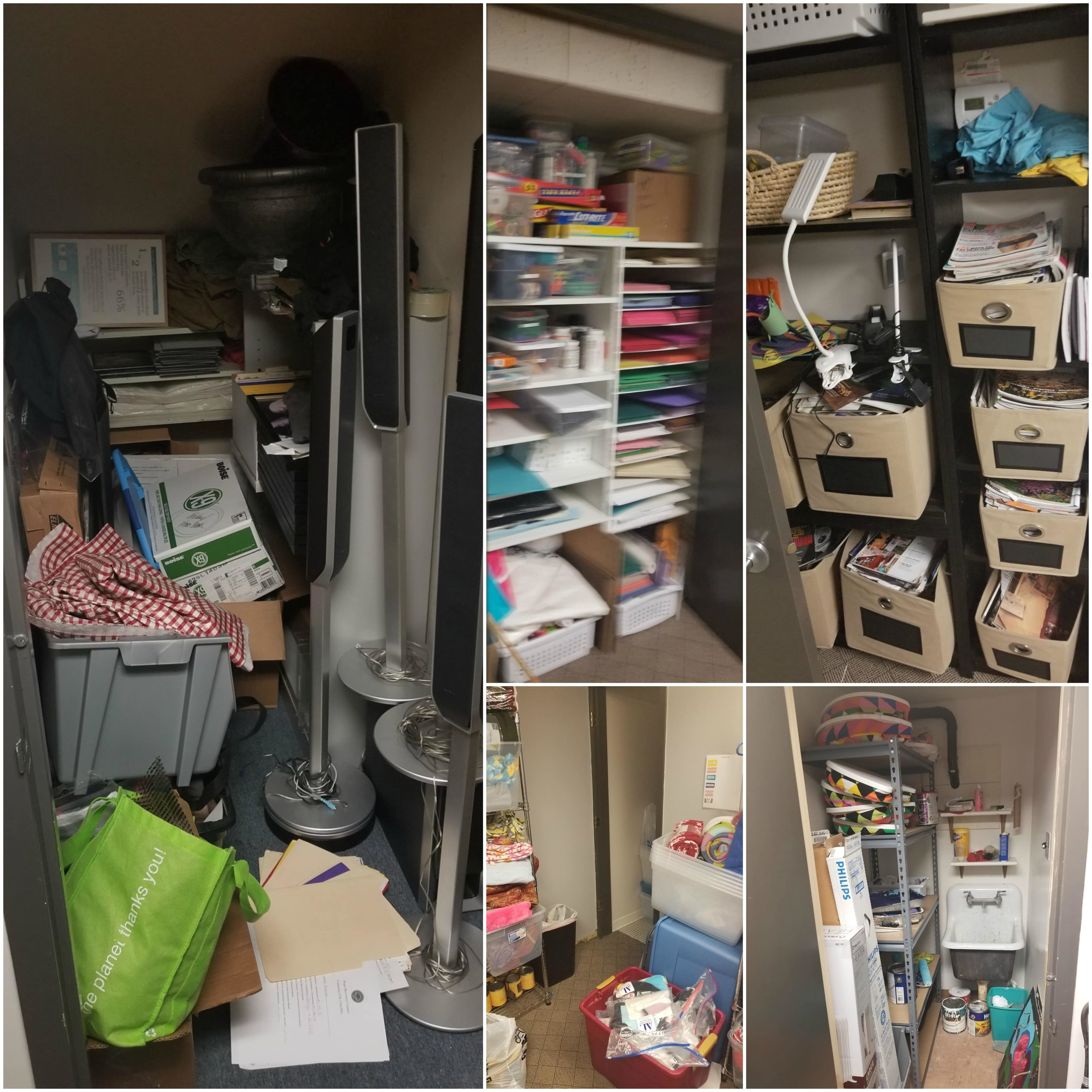 Here are just a few of the disorganized storage spaces that needed a little (or a lot) of TLC.