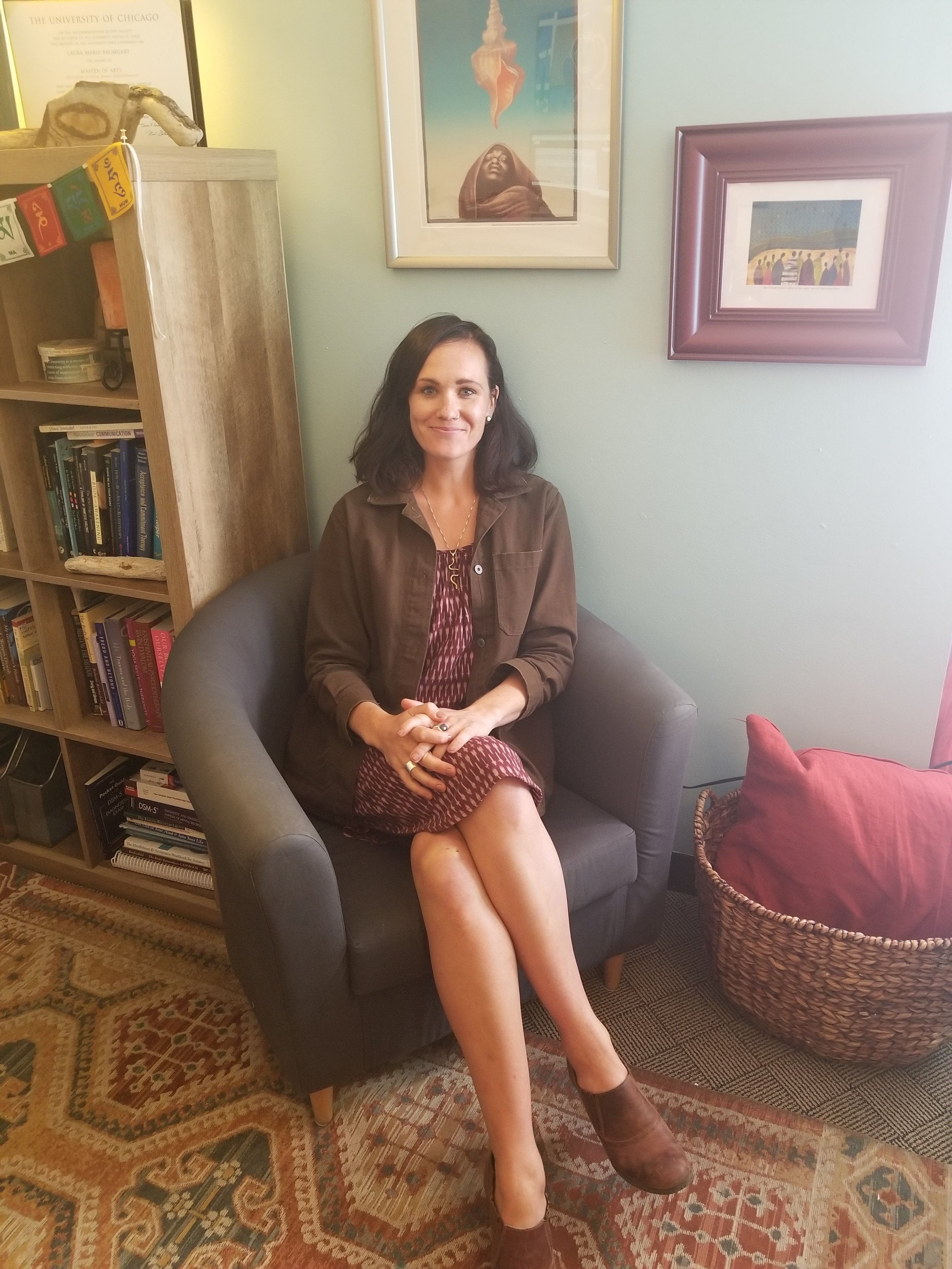 Laura Baumgart, Rape Recovery Center Clinical Director, in her office at the center.