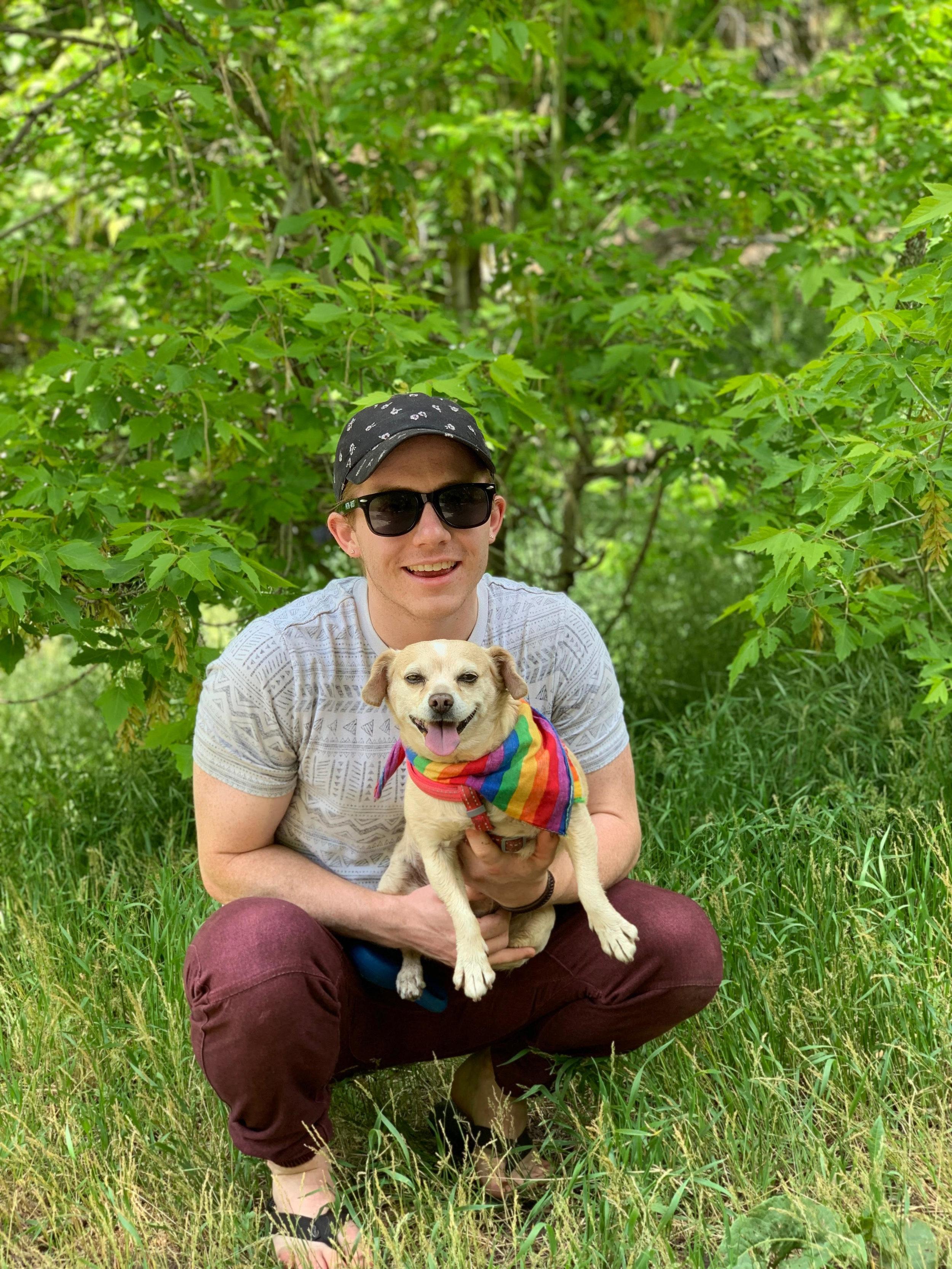Brennan Jones with his pup, Honey.