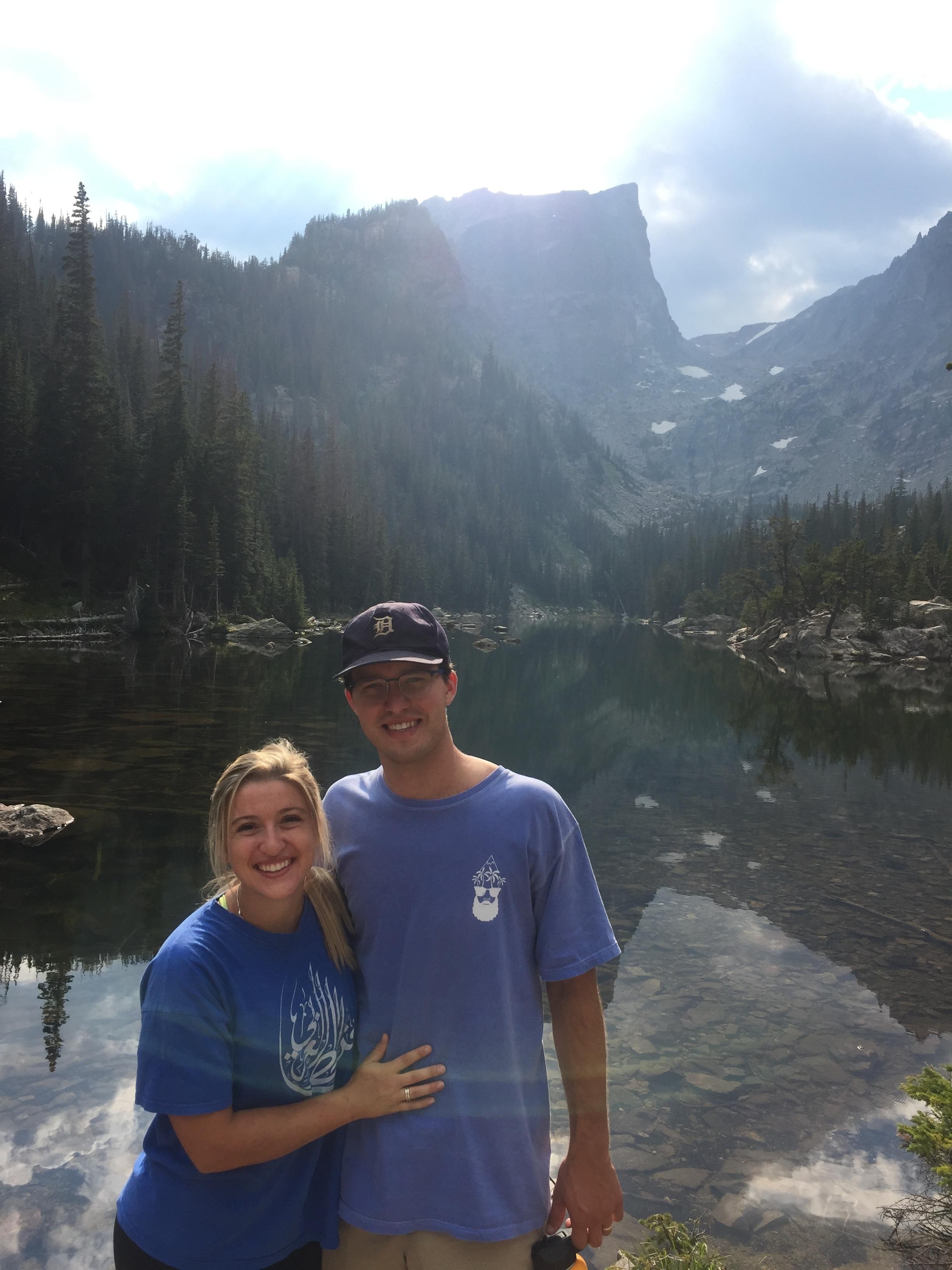 Tara and Kellen hiking in Rocky Mountain National Park.