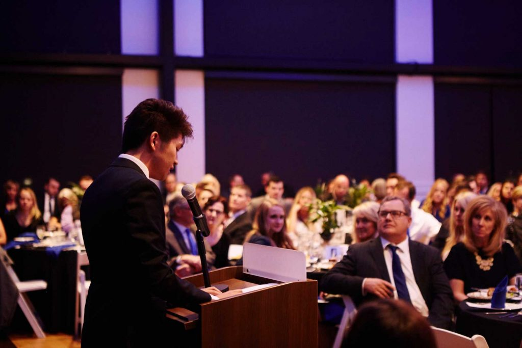 Vincent Fu speaks at the 2017 Blue Tie Gala