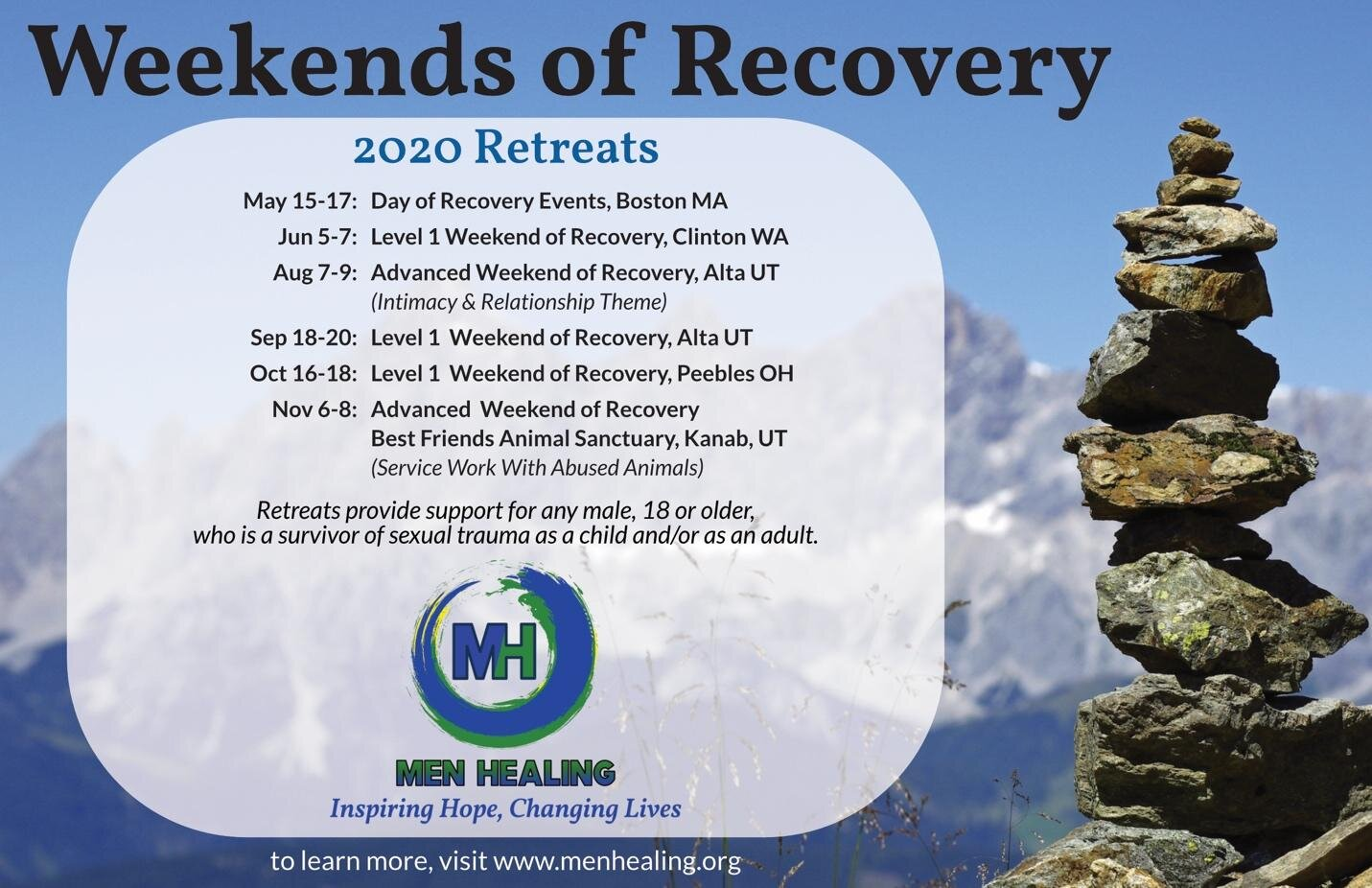 - Event schedule for 2020Men Healing has a free listserv for people to sign up and receive regular informational newsletters