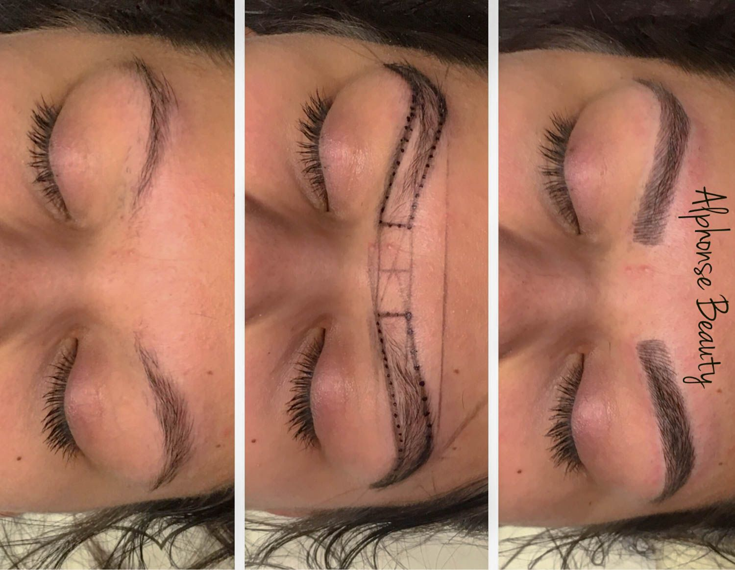 Stages of permanent makeup procedure for eyebrows