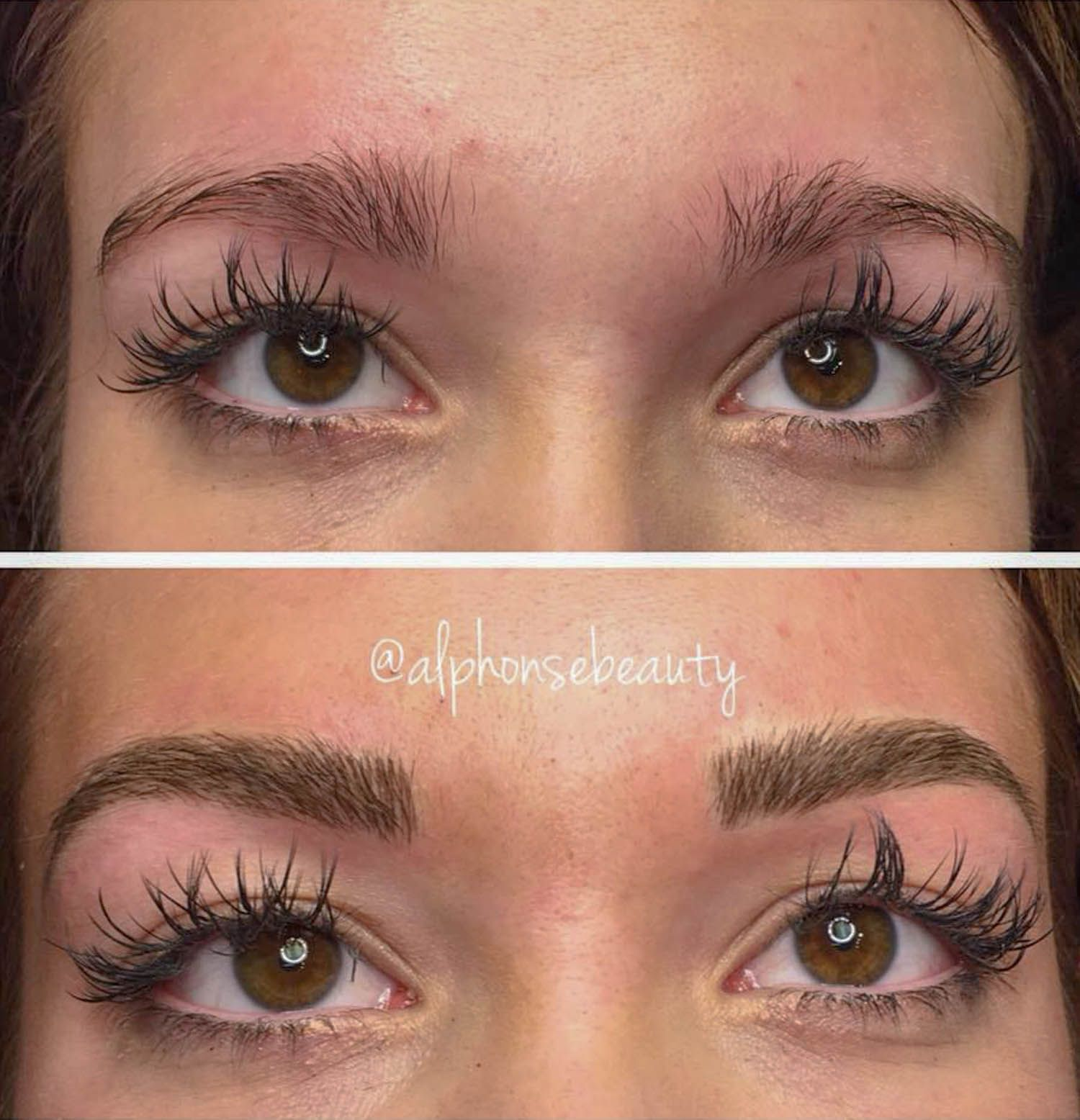 Permanent Eyebrow Microblading procedure conducted at Alphonse Beauty Microblading Studio in Michigan