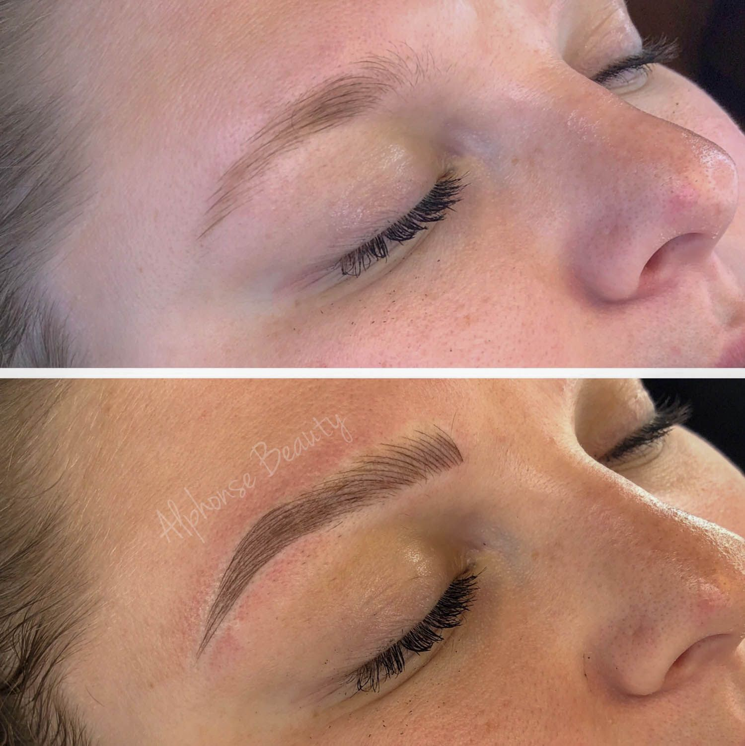 Permanent eyebrow microblading results