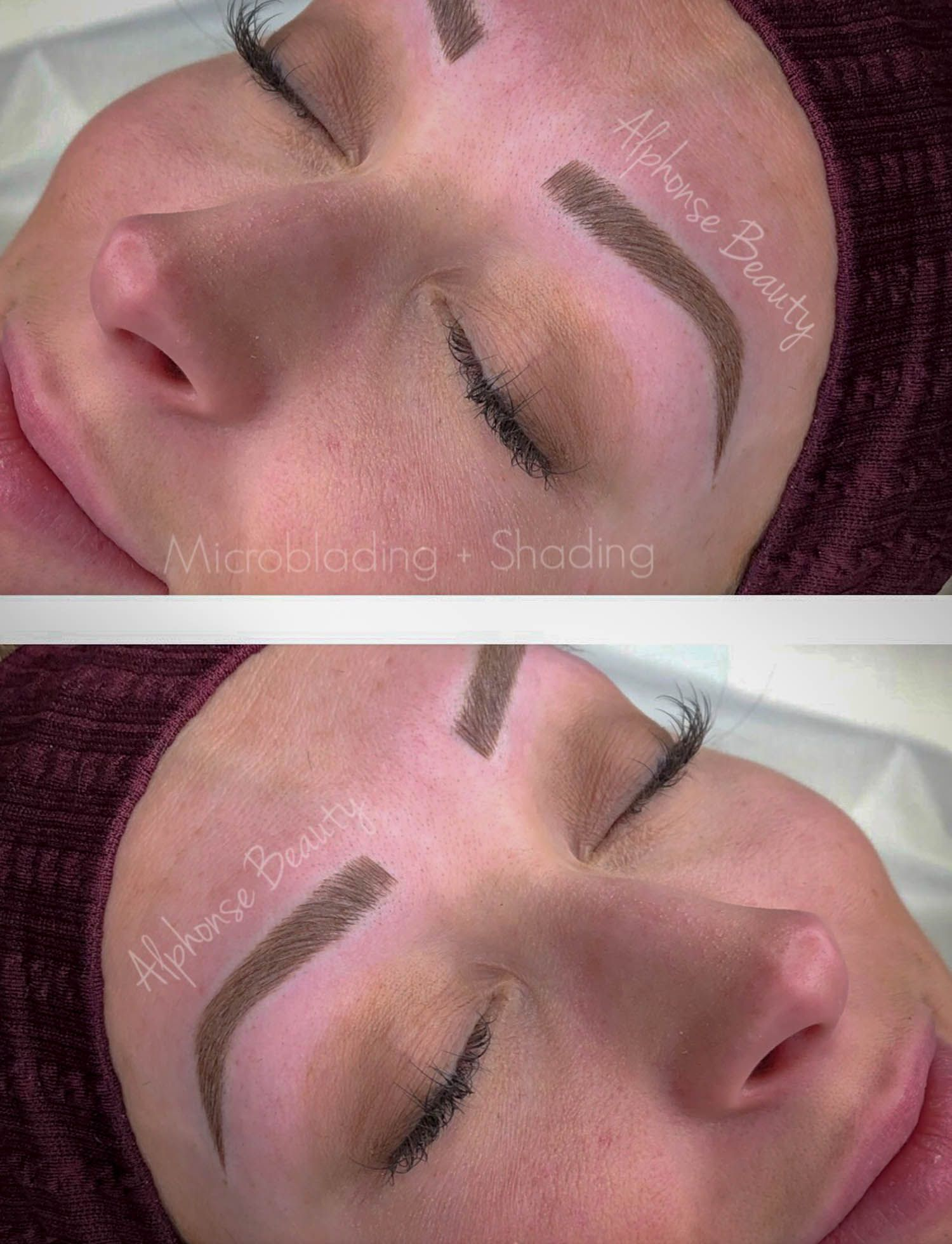 Perfect eyebrows achieved with microblading at Alphonse Beauty in Metro Detroit, Michigan